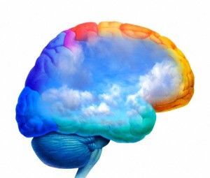26 Sep 2007 --- Environmental consciousness. Artwork of rainclouds inside the human brain, representing awareness of environmental issues. --- Image by © Science Photo Library/Corbis